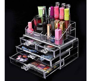 4 Drawer Cosmetic Storage Box - Transparent White