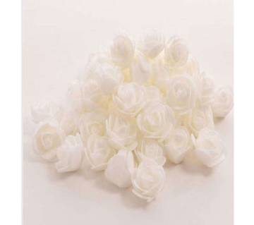 White PE Foam Rose Head Artificial Flower - 20 pieces pack
