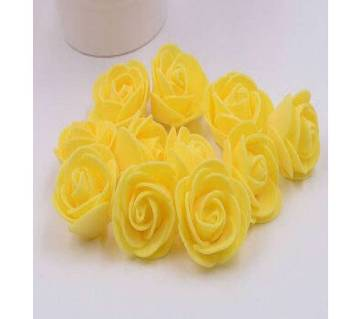 Yellow PE Foam Rose Head Artificial Flower - 20 pieces pack