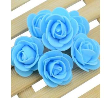 Blue PE Foam Rose Head Artificial Flower - 20 pieces pack