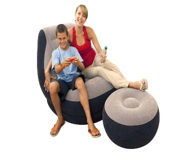 Intex Inflatable Ultra Lounge Chair With Cup Holder And Ottoman Set