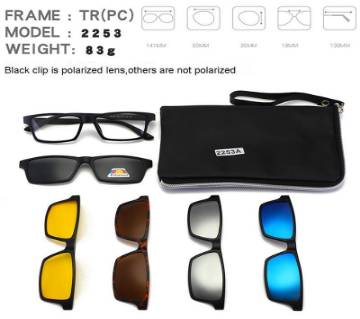 Stylish 6 in 1 Easy Swappable Sunglasses Night Vision Lenses