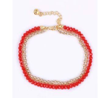Golden And Red Metal Anklet (Payel) For Women