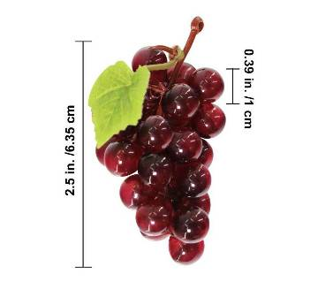 Artificial Plastic Fruit Grapes Cluster Home Office Decoration Dark Red