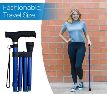 Travel Adjustable Folding Walking Stick Collapsible Walking Cane with Non-Slip Handle
