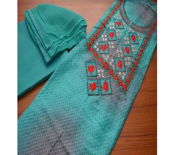 Indian Boutique Unstitched Cotton Three-piece