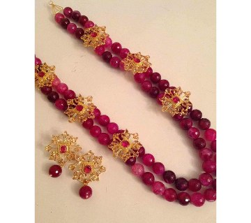 Artificial Rubi And Kundon Setting Necklace Set