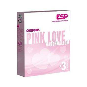 O3 ESP Pink Love Marshmallow Condoms (Width 52 ± 2 mm) 3 Pcs