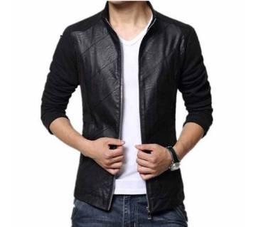 Mix Leather Full Sleeve Jacket
