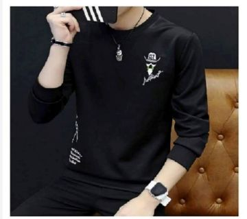 Full Sleeve Cotton T Shirt For Men - Black