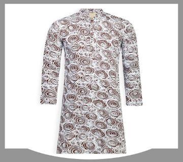 cotton long panjabi for men-White