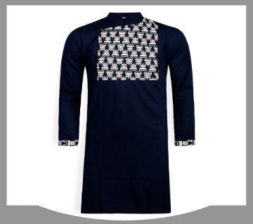 cotton long panjabi for men 01-black
