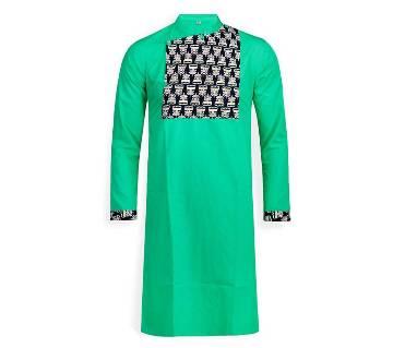 cotton long panjabi for men 03-green