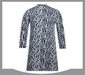 cotton long panjabi for men 06-black and white