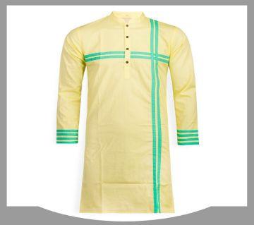 cotton long panjabi for men 07-yellow