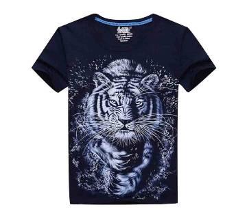 Mens Half Sleeve Cotton T-Shirt - Tiger