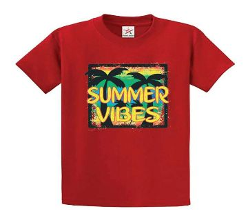 Summer Vibes Polyester Short Sleeve T-Shirt for Men - Red