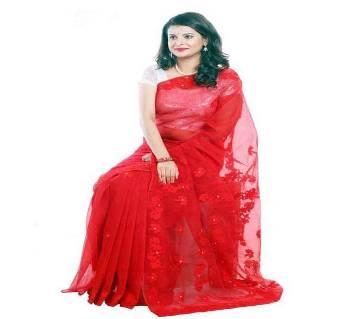 Pure moslin silk Embroidery saree