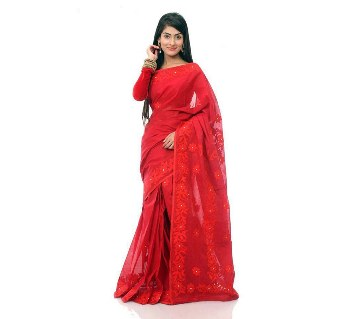 Pure Muslin Silk Embroidery Red Saare