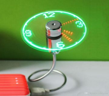 LED Light Clock USB Fan