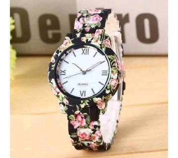 Floral Print Wrist watch For Ladies