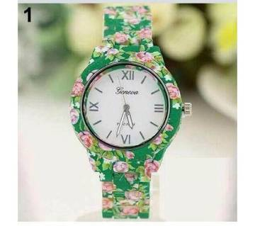 Floral Print Wrist watch For Ladies