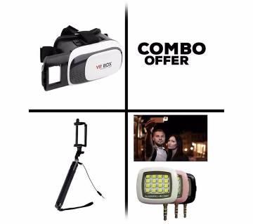 VR BOX 3D+BLUETOOTH SELFIE STICK+SELFIE LIGHT COMBO