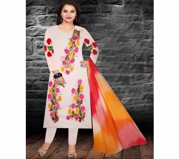 Unstitched brush printed cotton replica salwar kameez seblock-621