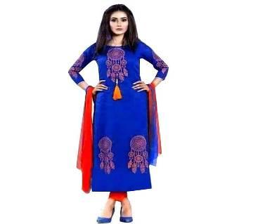 Un-stitched blue block printed cotton salwar kameez