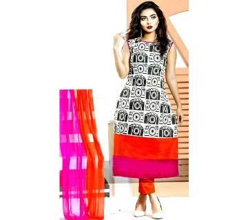 Un-stitched block printed cotton salwar kameez