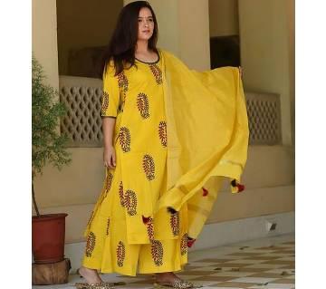 Unstiched block printed cotton salwar kameez