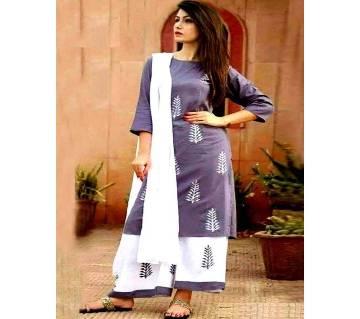 unstiched rajdhani voyal block printed cotton salwar kameez seblock-906