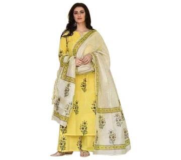 Un-stitched rajdhani voyel cotton block print salwar kameez seblock-703