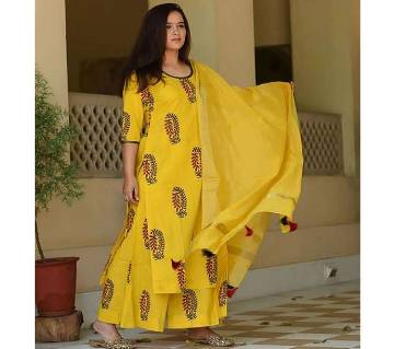unstiched rajdhani voyal block printed cotton salwar kameez seblock-704