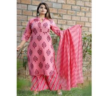 Latest Pink Block Printed 3 pieces Salwar Kameez for Women