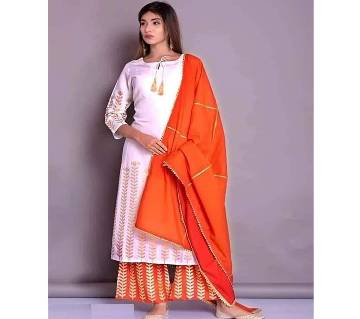 Latest White and Orange Block Printed 3 pieces Salwar Kameez for Women