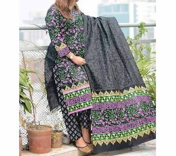 Latest Black Block and Multi Printed 3 pieces Salwar Kameez for Women