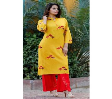 Latest Goldenrod and Red Block Printed 2 pieces Salwar Kameez for Women