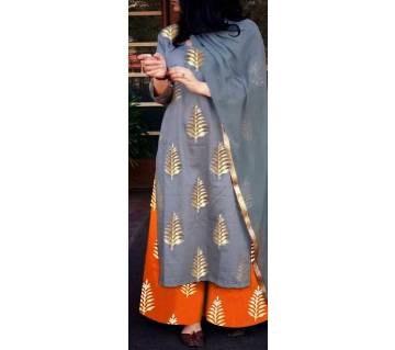 Un-stitched block printed cotton salwar kameez seblock-489