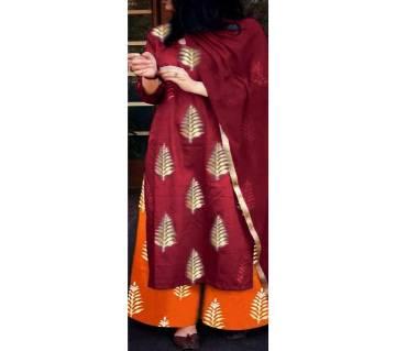 Un-stitched block printed cotton salwar kameez seblock-491