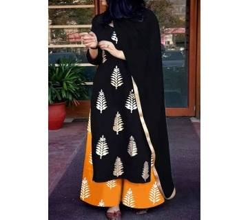 Un-stitched rajdhani voyel cotton block print salwar kameez seblock-256
