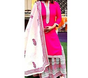 Unstitched Block Printed Capital Voil Cotton Replica Salwar-Kameez