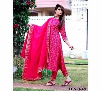 Unstitched block printed capital voile cotton replica salwar-kameez