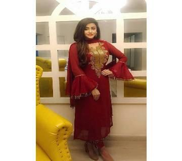 Un-stitched maroon georgette with buticks work salwar kameez