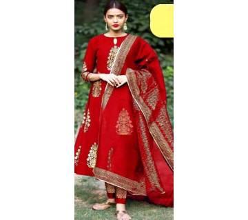 Unstiched skin printed Rajdhani voyal cotton  salwar kameez seblock-195