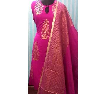 Unstiched skin printed Rajdhani voyal cotton  salwar kameez seblock-196