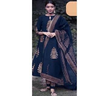 Unstiched skin printed Rajdhani voyal cotton  salwar kameez seblock-198