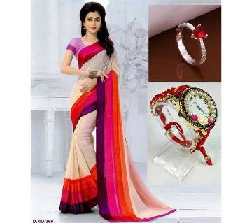 Saree with Finger Ring and watch 3 in 1