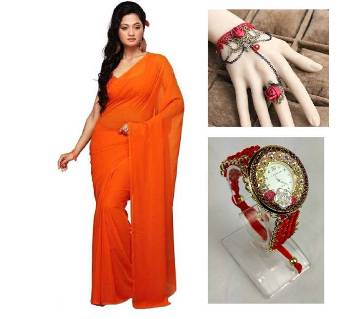 Saree with adjustable bracelet finger ring and watch