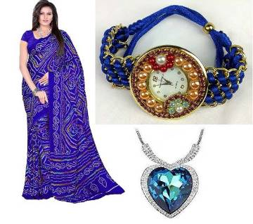 saree with Beautiful Titanic locket and watch
